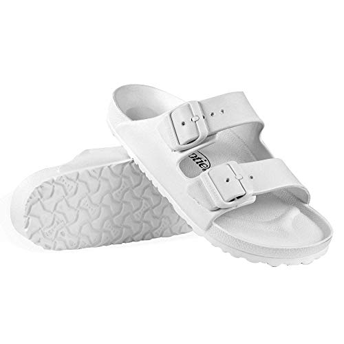 Sandals Big Buckle - AEROTHOTIC - Water Friendly Light Weight EVA Sandals and Flip Flops for Women - One Piece Technology (US-Women-6, IRIS White)