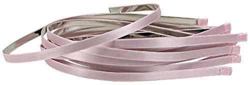 Q-YO 5pc 5mm Satin Lined Metal Headbands Newborn Headbands, Accessories for Women, Accessories for Girls. (Lt Pink)