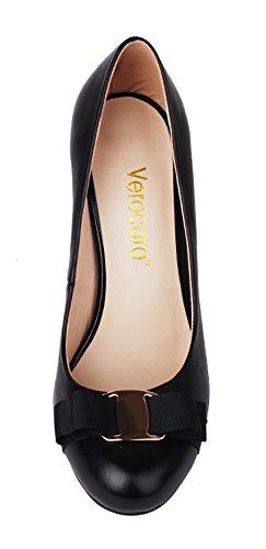 verocara Damen Hohe Ferse Ornament Dekoration Mandel Echt Leder Kleid Court Pumpen Schuhe A-Black
