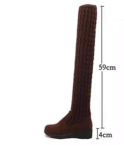 Cuestas De Cachemira Y Lana Rodilla Zapatos 37 Con Eu Deed Botas Planas Mujer 6Hw5qWYa