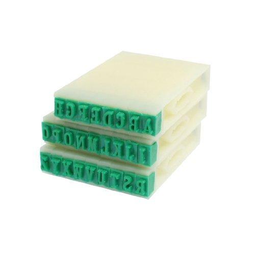 eDealMax 3 mm x 5 mm Vert Caoutchouc tête 26 Alphabets Combinaison Ensemble de blocs de Timbre