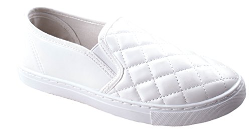 Anna Womens Slick Lichtgewicht Comfort Slip Op Gewatteerde Fashion Sneakers Wit