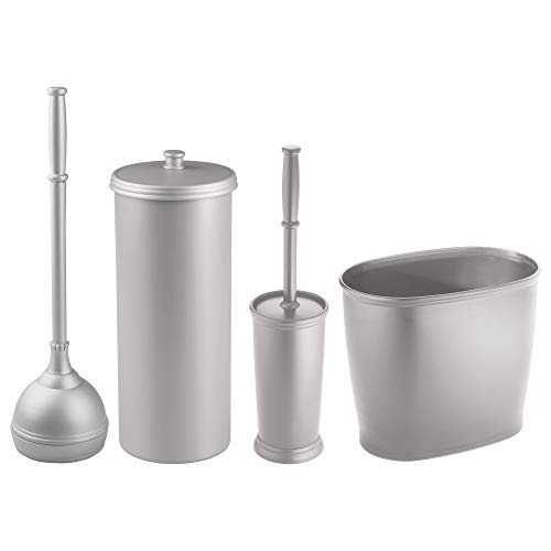 mDesign Bathroom Accessories Set, Plunger with Holder, Toile