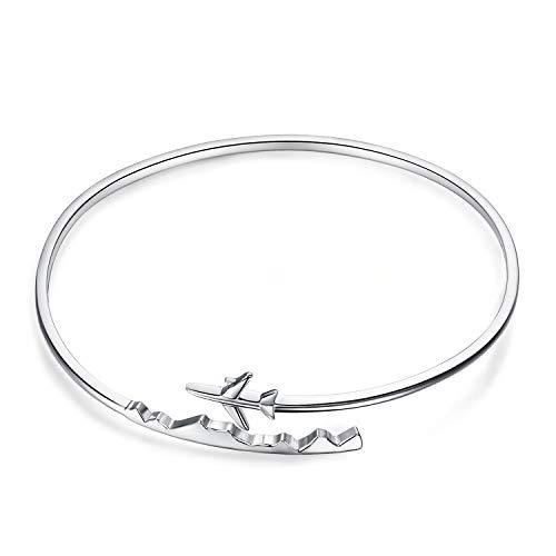 Airplane Bracelet - JewelryPalace 925 Sterling Silver World Travel Souvenir Airplane Adjustable Open Bangle Bracelet