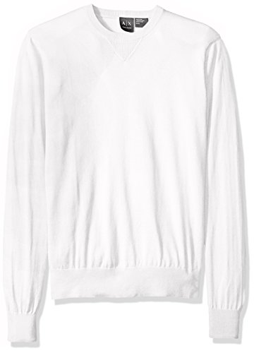 - A|X Armani Exchange Men's Long Sleeve Crew Neck Pullover Knit Slim Fit, White, Medium