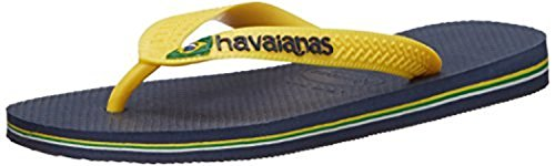Blau navy Mixte Adulte Tongs Logo Yellow gelb Havaianas Citrus Blue Brasil W0xCXqwtU