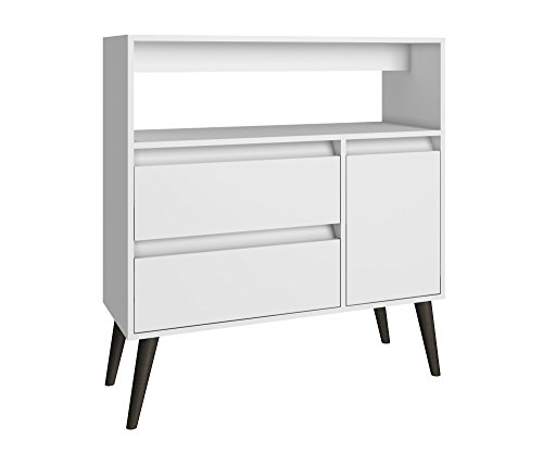 Manhattan Comfort Gota High Side Table Collection Multi Functional Modern Side Table / TV Stand with Storage, Includes 2 Drawers, 1 Door and 1 Shelf with Splayed Legs, White/Grey Legs (Two Doors One Drawer)