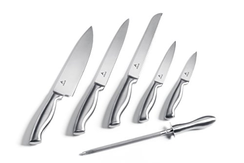 Ashlar Kitchen Knives – Set of 5 Best Commercial Grade Stainless Steel Dishwasher Safe Knives Including Chef Slicer Bread Utility and Paring plus a Knife Sharpener