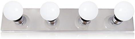 Maxxima 4-Bulb Bathroom Vanity Light Fixture, Chrome Finish, 2 Ft. 24 inches Light Strip LED G25 Bulbs Included