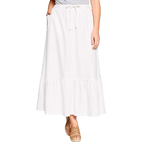 Woman Within Women's Plus Size Petite Drawstring Chambray Skirt - 24, White