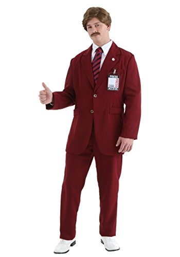 Ron Burgundy Suit (Fun Costumes Mens Deluxe Ron Burgundy Suit X-large)
