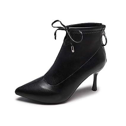 HRCxue Zapatos de la Corte Botines de Mujer de Moda con Estilete Liso Sexy Negro,
