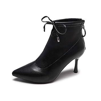 HRCxue Zapatos de la Corte Botines Negros de Moda para Mujer con Estilete Liso.: Amazon.es: Deportes y aire libre