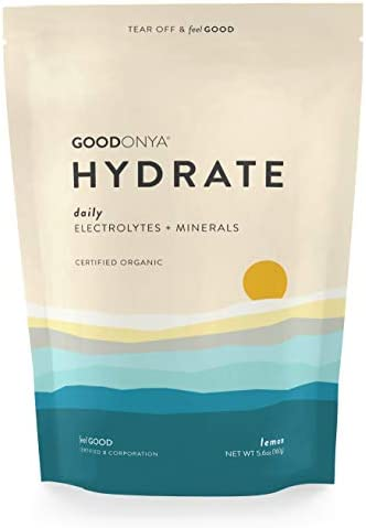 GOODONYA Electrolyte Mineral Powder Organic Ingredients, Zero Sugar Added for Clean Natural Hydration Real Lemon Immune Supporting Formula 20 Servings