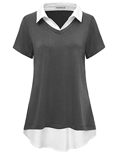 Miss Fortune Summer Tunic Shirt for Women, Short Sleeve Blouse Tunic Work Causal Draped Contrast Collar Top Turn Down V Neck Relaxed Fit Tunics Zulily Womens Clothing,Dark Grey L ()