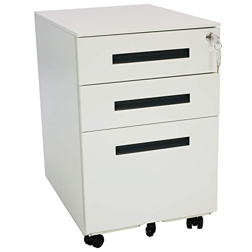 CASL Brands Rolling Mobile File Cabinet Pedestal with Keyed Lock, Small Steel 3-Drawer Filing Storage System, White with Gray Handles ()