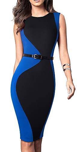 (HOMEYEE Women's Colorblock Wear to Work Business Dress with Belt B478 (4, Black+Blue-Sleeveless))