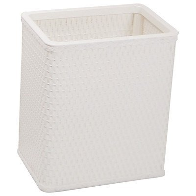 Redmon Chelsea Collection Decorator Color Square Wicker Wastebasket, White