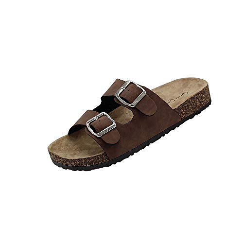 Kylie-01 Women Double Buckle Straps Sandals Flip Flop Platform Footbed Sandals Brown 8.5 ()