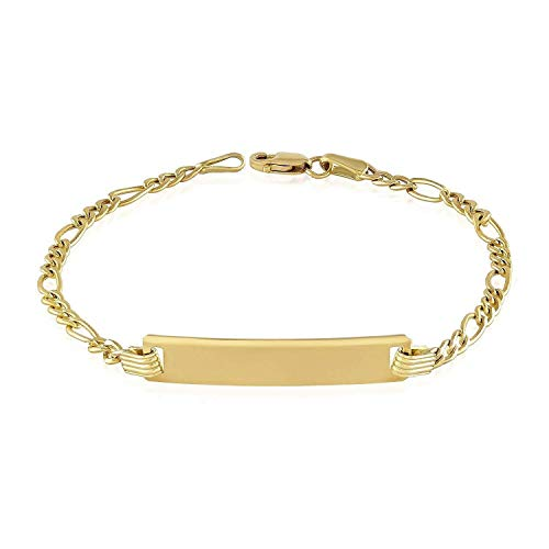 White Bracelet Gold Engraved (TousiAttar Baby Id Bracelet - Unique Jewelry for Girls and Boys - Yellow or White Authentic 14k Gold Children's Bar Bracelets-Free Personalized and Engraving With Newborn Kids Name-Size 4.5'' to 6.5'')