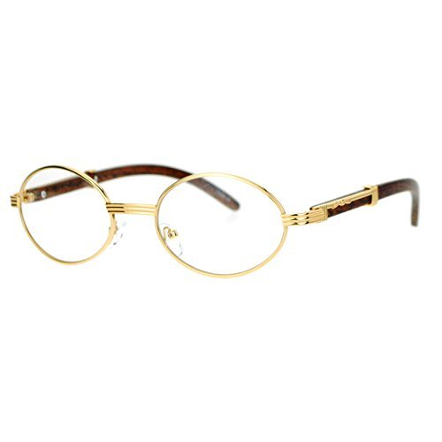Clear Lens Eyeglasses Unisex Vintage Fashion Oval Frame Glasses Yellow Gold ()