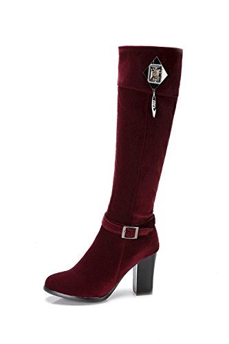 Solid Toe top Suede Imitated Heels High Boots Women's AgooLar Claret Closed High Round tw8Bg