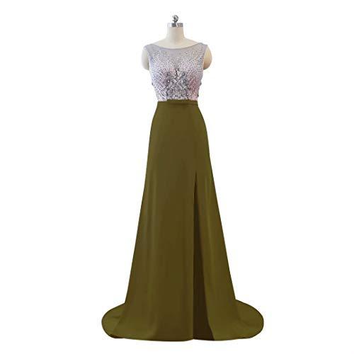 Ausschnitt der Frauen 14 Ballkleider Spitze Lange V Abendkleid Hohe Perlen Formale Split E0wBwtq