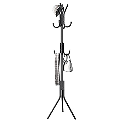 Renzhongren Metal Coat Rack Free Standing Display Stand Hall Tree with 3 Tiers and 11 Hooks for Clothes Scarves and Hats 45173-2BK - CLASSICAL FINISH: a black waterproof varnish finish makes the rack match with almost any colors and adds a touch of style wherever you put it, going well with any piece of furniture STORAGE HOOKS: 11 hooks separated into 3 tiers give you an ample amount of hanging options for any garments or clothes END CAP DESIGN: rubber end caps on each hook protect your clothes from tearing or slipping when they are hanging or being taken off the rack - entryway-furniture-decor, entryway-laundry-room, coat-racks - 31S2dOrWCeL. SS400  -