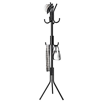 Renzhongren Metal Coat Rack Free Standing Display Stand Hall Tree with 3 Tiers and 11 Hooks for Clothes Scarves and Hats 45173-2BK