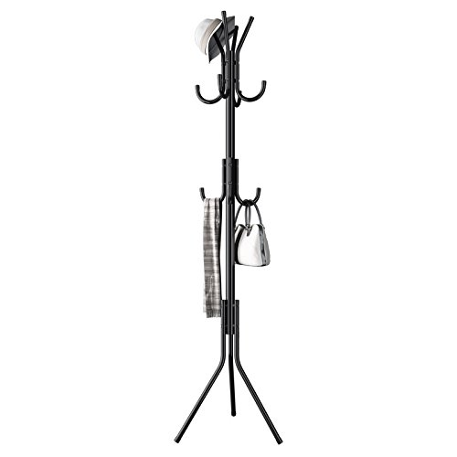 Metal Coat Rack Free Standing Display Stand Hall Tree with 3 Tiers and 11 Hooks for Clothes Scarves and Hats 45173-2BK (Childrens Clothes Tree)