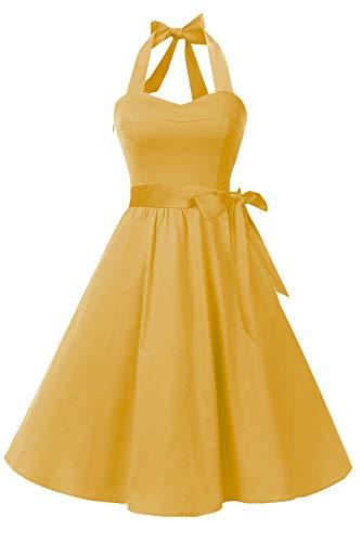Topdress Women'sVintage Polka Audrey Dress 1950s Halter Retro Cocktail Dress Gold XL