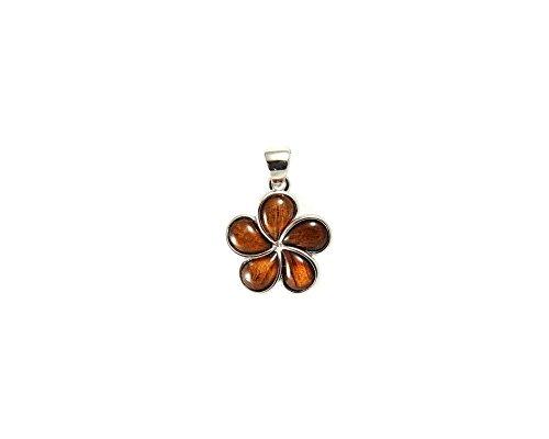 Pendant Plumeria Mm 15 (Genuine inlay Hawaiian koa wood plumeria flower pendant 925 sterling silver 15mm)