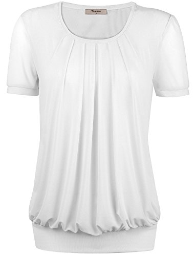 Timeson Womens Flattering Short Sleeve Scoope Loose Fit Stentchy Soft Top XX-Large White