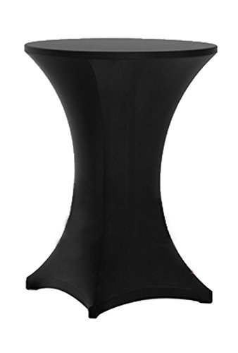 Awillhome Highboy Cocktail Fitted Spandex Stretch Table Cover Tablecloth,Bistro Table Cover,Poseur Tablecloth,Upright 4 Legs (30inx43in high, Black)