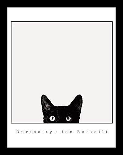 FRAMED Curiosity Black Cat by Jon Bertelli 14x11 Art Print Poster Wall Decor Black and White Photograph of Kitty Kitten - Glasses And Cat With Black White