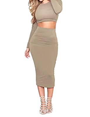Regna X Women Long Sleeve Stretchy Comfy Sexy Bodycon Dresses (3 styles, Plus size available)