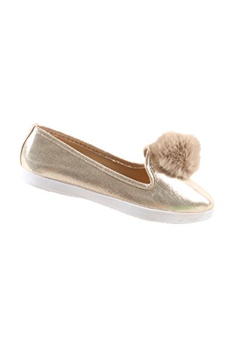 876e4eee9 Hadari Women's Casual Fashion Slip On Gold Pom Pom Flat Shoes lovely ...