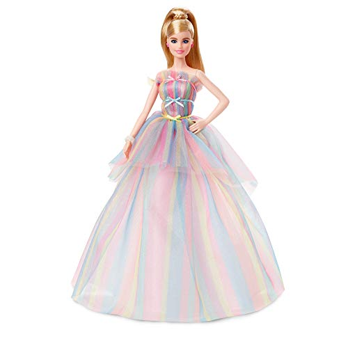 Barbie Signature Birthday Wishes Doll, Approx. 12-in Blonde in Rainbow Dress, with Doll Stand and Certificate of Authenticity, Birthday Gift for 6 Year Olds and Up