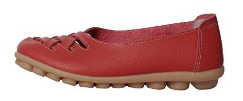 Serene Womens Cowhide Flat Casual Slip Op Rijdende Loafer Schoenen Red3