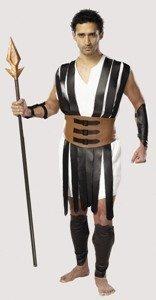 cinema secrets gladiator costume size xxl tunic w/fauc leather straps,arm & shin guard- spear not included