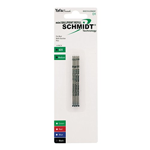 Mini Yafa - Schmidt 635 Mini D1 Ballpoint Refill Medium, 4 Pack, Black (SC58149)