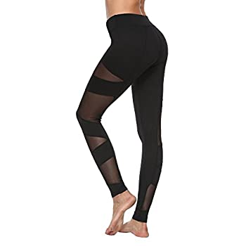 Feivo Yoga Pants, Women's Power Flex Yoga Pants Tummy Control Workout Yoga Capris Pants Leggings,mesh-black5,medium 2