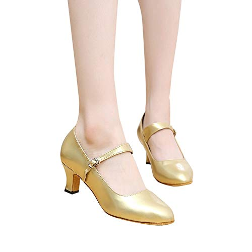 (Women's Buckled Dressy Round Toe Low Cut Block Mid Heel Pumps Shoes Patent Leather with Ankle Strap by Lowprofile Gold)