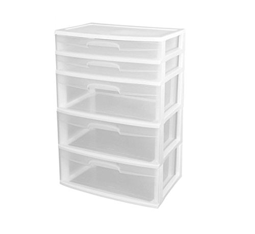 Sterilite 5-Drawer Wide Tower, White (Wheels Not Included) (1) (Craft Cart Sterilite)