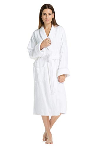 Fishers Finery Women's EcoFabric Hotel Spa Terry Full Length Robe (SM) White