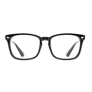 TIJN Unisex Wayfarer Non-prescription Eyeglasses Glasses Clear Lens Eyewear Black Frame