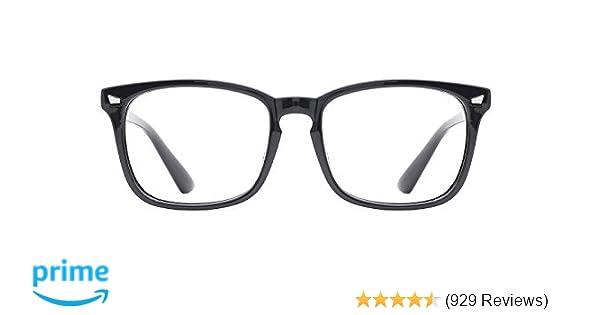 b09f8b6b26 Amazon.com  TIJN Unisex Non-prescription Eyeglasses Glasses Clear Lens  Eyewear Black Square