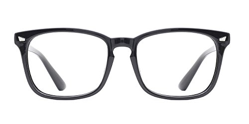 TIJN Unisex Wayfarer Non-prescription Glasses Frame Clear Lens Eyeglasses (Black, Transparent)