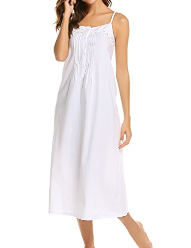 Ekouaer Womens Nightgown 100% Cotton Victorian Long Sleeveless Sleepwear S-XL, C_white, Medium (Nightgown Pintucked)