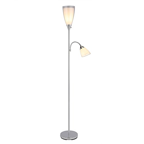 """CO-Z 3-Way Combo Torchiere Floor Lamp with Side Reading Light, Modern Multi Standing Pole Lamp with Double Layered Shade, 71"""" Mother Daughter Floor Lamp for Living Room/Bedroom/ Home Office Lighting"""